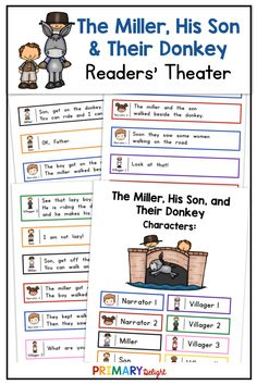 The Miller, His Son, and Their Donkey Readers' Theater Art Lessons Elementary, Elementary Schools, Elementary Teaching, Teaching Art, Partner Reading, Guided Reading Groups, First Grade Reading, First Grade Classroom, Aesop's Fables