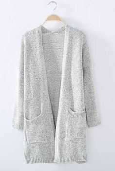 Women's Knit Going out / Street chic Long Solid Gray Long Sleeve Cotton Fall Medium Sweaters Cardigan