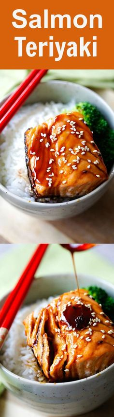 Salmon Teriyaki - moist and juicy pan-seared salmon with teriyaki sauce. This easy salmon teriyaki recipe takes only 4 ingredients | http://rasamalaysia.com