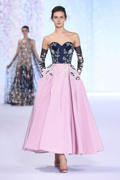 Ralph & Russo SS16 Flared dress with midnight blue bustier and amethyst pink faille skirt, embroidered with floral silk and metallic thread-work.