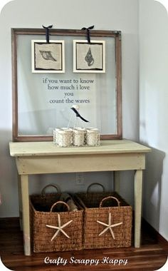Beach Theme Master Bedroom - Like the baskets and the idea of the empty frame with hanging pics