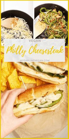 Vegan Philly Cheesesteaks made with marinated portobello mushrooms, sautéed onions and peppers, and homemade vegan cheese sauce for a healthier spin on this classic sandwich. Vegan Sandwich Recipes, Tasty Vegetarian Recipes, Veggie Recipes, Vegan Sandwiches, Vegetarian Stew, Veggie Meals, Vegan Philly Cheesesteak, Philly Cheesesteaks, Cheesesteak Recipe