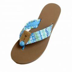 743b1d974ccc Santorini Fabric Sandal with Columbia Blue Toe   Tan EB Peanut