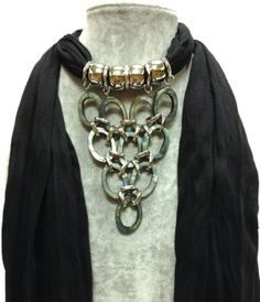 3-6 Day Delivery- Fashion Scarf With Jewelry Pendant With Charms Accessory Scarves Designer Style Beaded Trendy Necklace Wrap Charm Elegant Black Colored Scarf MyEasyBag,http://www.amazon.com/dp/B009NXCHUQ/ref=cm_sw_r_pi_dp_x0jOsb0TYABYACFE