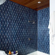master bath shower tile dark blue tile, dark wood ceiling and white floor Bad Inspiration, Decoration Inspiration, Bathroom Inspiration, Casa Milano, Bathroom Renos, Master Bathroom, Bathroom Wall, Bathroom Ideas, Bathroom Modern