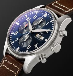 Navy Pilot's Le Petit Prince Chronograph Stainless Steel and Webbing Watch Rolex Watches, Watches For Men, Iwc Pilot, Modern Gentleman, The Little Prince, Chronograph, Stainless Steel, Leather, 50th Birthday
