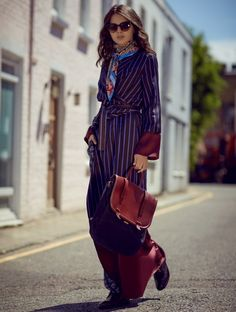 classic striped outfit with silk scarf