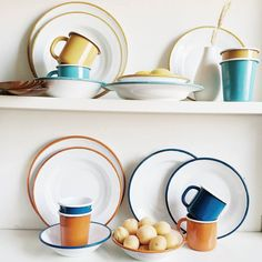 Hello Monday! Hello new @bornnenamelware - huzzah!  We've Dinner Plates Side Plates Bowls Mugs and Tumblers in a selection of retro tones. These sets are perfect for festival brews or home stews! #mmm #Enamelware by howkapow