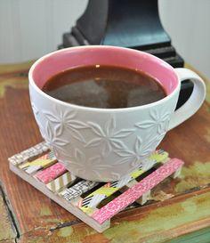 Washi Tape Mini Pallet Coaster- 24 DIY Unique Coasters Ideas | DIY to Make