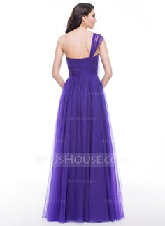 A-Line/Princess One-Shoulder Floor-Length Tulle Prom Dress With Ruffle Beading (018059420)