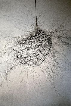 """Study"" by Anne Mudge Study 133, Stainless steel wire and asphaltum 30 "" x 30 "" x 30 """