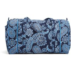 Vera Bradley Large Duffel Travel Bag in Blue Bandana ($60) ❤ liked on Polyvore featuring bags, luggage and blue bandana