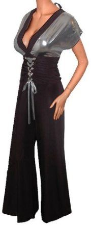 FUNFASH BLACK SILVER CORSET FLARE JUMPER PALAZZO PANTS CLOTHING Plus Size Womens New Made in USA,$44.99