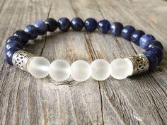 Gemstone men bracelet Beaded bracelet stretch door KennlyDesign