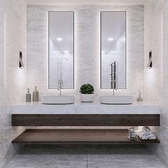 New project, bathroom remodel, recessed wall lamp fixture Bathroom Design Luxury, Modern Bathroom Design, Restroom Design, Bathroom Designs, Bathroom Styling, Bathroom Lighting, Lavabo Exterior, Small Bathroom, Master Bathroom