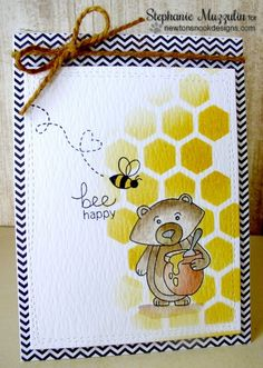 Bee Happy |  Honey Bear card by Stephanie Muzzulin | Winston's Honeybees stamp set by Newton's Nook Designs #newtonsnook #bee