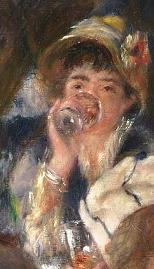 Renoir Luncheon of the Boating Party (Detail of Ellen Andrée). oil on Philips Collection.Model: Ellen Andrée was a French model for Édouard Manet, Edgar Degas and Pierre-Auguste Renoir and other impressionists, in the Pierre Auguste Renoir, Edouard Manet, Pierre Bonnard, August Renoir, Renoir Paintings, Art Français, Camille Pissarro, Post Impressionism, Paul Cezanne