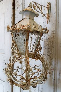 rusty lantern candle holder ornate metal shabby chic distressed hand painted country home decor Anita Spero