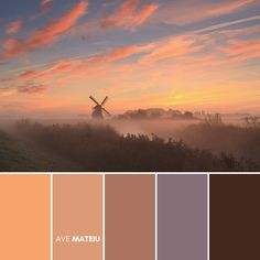 Pink and orange clouds during a foggy sunrise at a windmill in the Netherlands Color Palette #394 – Ave Mateiu - Fall Autumn 2020, color palette, color palettes, colour palettes, color scheme, color inspiration, color combination, art tutorial, collage, digital art, canvas painting, wall art, home painting, photography, weddings by color, inspiration, vintage, wallpaper, background, rustic, seasonal, season, natural, nature