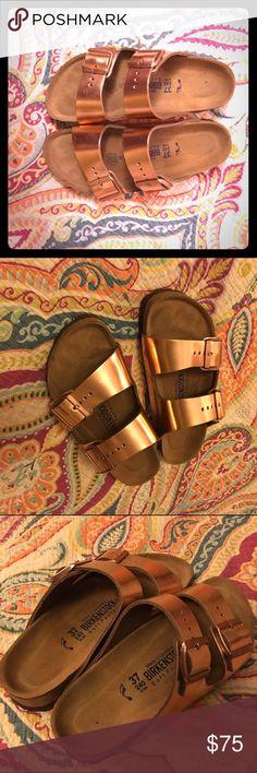 Copper/ Rose gold Birkenstock sandal Soft footbed Birkenstock sandal. Metallic copper/rose gold colored. Worn about 10 times. Birkenstock Shoes Sandals