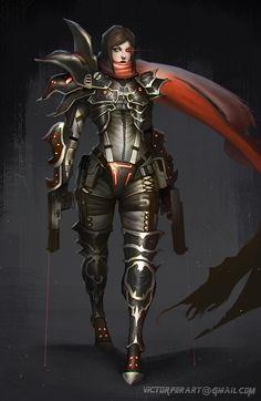 Diablo 3 sci-fi demon hunter, Victor Fernández on ArtStation at https://www.artstation.com/artwork/DLylA