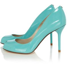 Karen Millen Signature Patent Peep Toe (575 GTQ) ❤ liked on Polyvore featuring shoes, pumps, heels, blue, aqua, high heel shoes, high heel pumps, blue high heel shoes, multi color pumps and summer shoes