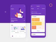 Basecamp Mobile App Design Concept by Ahmed Ebrahim - - Web Design, App Ui Design, Flat Design, Graphic Design, Interface Web, User Interface Design, Wireframe, Mobiles, Ui Design Mobile