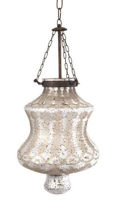 """IMAX Cadel Etched Glass Pendant Light - Etched silver mercury glass and iron chain add a strikingly beautiful appearance to the Cadel pendant light. This hard wired pendant light comes complete with a ceiling cap, cord length of 58.5"""" and holds 60 Watt Type B or 13 Watt CFL bulb."""