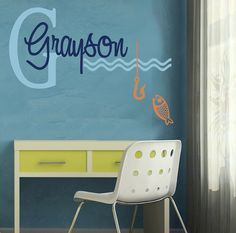 Wall Decal MONOGRAM Personalized Childrens Art Fish Fishing EXTRA LARGE on  Etsy 735af4100ed5