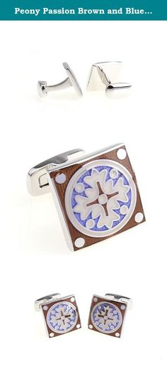 Peony Passion Brown and Blue Cufflinks. Peony Passion Brown and Blue Cufflinks Size: 0.71 Inch by 0.71 Inch An awesome gift for anyone :) .