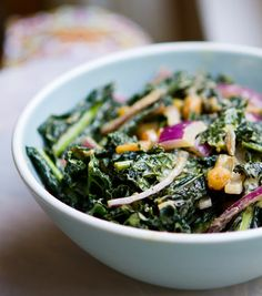 Vegan-Kale-Peanut-Salad - This yummy salad is used to make the Spicy Peanut Portobello Kale Rice Bowl Kale Salad Recipes, Vegetarian Recipes, Healthy Recipes, Vegetable Recipes, Healthy Meals, Yummy Recipes, Healthy Food, Portobello, Clean Eating