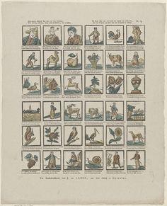 Jan de Lange (II) | Een nuttig allerlei kan hier uw oog bekijken, / Hier ziet gy dieren, maar ook menschen, die u lijken. / Gij kunt hier met vermaak een uurtje bij passeeren, / En van hetgeen gij ziet wat nut en goed is leeren, Jan de Lange (II), Anonymous, 1822 - 1849 | Blad met 36 voorstellingen van figuren, dieren, planten en voorwerpen. Onder elke afbeelding een tweeregelig vers. Genummerd rechtsboven: N. 23.