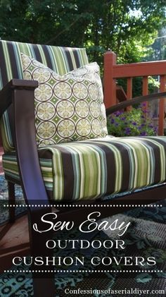 Sew Easy Outdoor Cushion Cover Tutorial from @Christy James   DIY Outdoor Cushion Cover