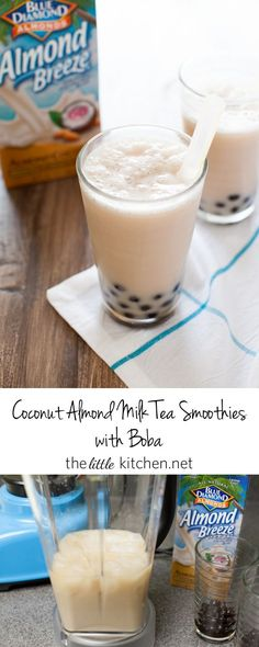 These smoothies are really really easy to make and with coconut almondmilk, you'll love it!! Coconut Almond Milk Tea Smoothies from thelittlekitchen.net @almondbreeze