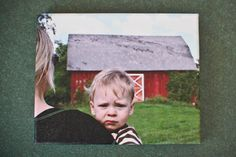 a funny child's expression captured in time on a canvas print