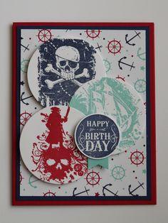 Birthday card (2015) Stampin' Up! sets Beware Pirates and Blue Ribbon. Colors are Night of Navy, Real Red and Coastal Cabana.