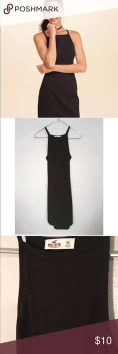 Hollister Bodycon Dress Ribbed simply black dress with a cut-out in the back. Hollister Dresses Mini