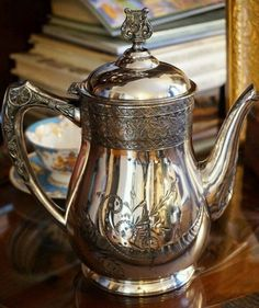 Company teapot - circa late Charming silverplate teapot with a nice Victorian flower and leaf design and harp finial. Details: - Measures about tall (to the top of the finial). Cream Tea, Victorian Flowers, Chocolate Coffee, Chocolate Lovers, Butler Pantry, Silver Spoons, Paris, Art Object, Autumn Home