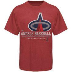 MLB Los Angeles Angels Submariner Basic T-Shirt, Cardinal Heather Majestic. $8.51