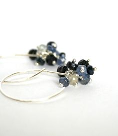 Sapphire cluster earrings, sapphire earrings, blue earrings, September birthstone, blue bridesmaid jewelry - Nicola. $36.50, via Etsy.