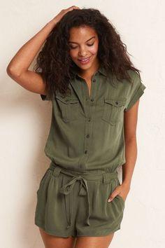 Aerie Military Romper (Jumper), Women's, Size: XS, Olive Green