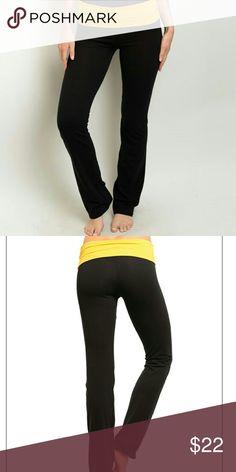 Comfy Yoga Pants Black yoga pants/leggings   Mustard yellow band.  Super comfy, stretchy and adorable! Pants Leggings