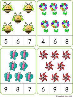 Spring Count and Clip Cards: Numbers 3 Lebensmittel, welche du meide. Kindergarten Math Worksheets, Preschool Learning Activities, Preschool Activities, Numbers Preschool, Math For Kids, Math Centers, Cards, Counting, Flashcard