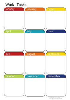Yearly to-do tasks at a glance! Organization Bullet Journal, Teacher Organization, Paper Organization, Planner Pages, Printable Planner, Printables, Calander Printable, Filofax, University Organization