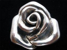 Vintage Rose Pendant Brooch Sterling Silver Large Flower Signed ATI for Necklace | eBay