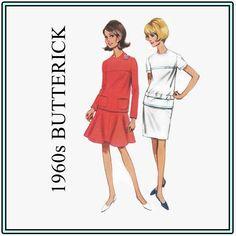 1960s Sewing Pattern - Vintage Butterick 4324 - Misses' Two-Piece Dress - Size 14 Bust 34 Mod Dress - Jewel Neckline - Mod Hip Belt - UNCUT by EightMileVintageSews on Etsy