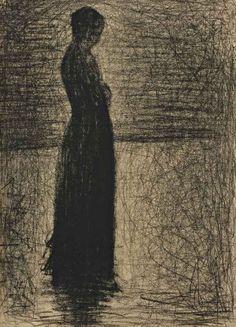 Georges Seurat (French, 1859-1891), Femme debout, la tête nue, c.1883. Conté crayon on paper,