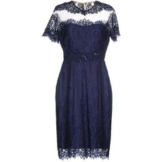 Notte By Marchesa Knee-length Dress ($750) ❤ liked on Polyvore featuring dresses, dark blue, short sleeve lace dress, knee length lace cocktail dress, dark blue dress, sequin cocktail dresses i knee-length dresses