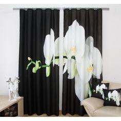 Čiernobiely záves s kvetom - domtextilu. Drapes Curtains, Shower, Prints, Home Decor, 3d, Bedding, Blinds, Beds, Rain Shower Heads