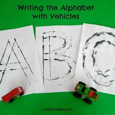 Kids get to paint with toy vehicles and form letters of the alphabet!